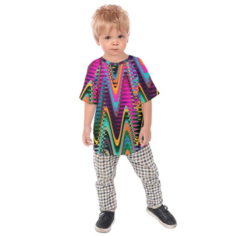 Multicolored Wave Distortion Zigzag Chevrons 2 Background Color Solid Black Kids  Raglan Tee by EDDArt
