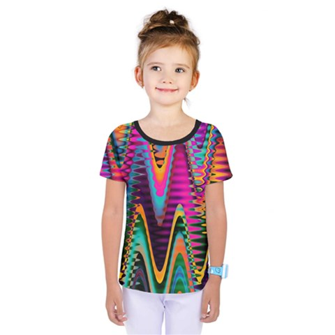 Multicolored Wave Distortion Zigzag Chevrons 2 Background Color Solid Black Kids  One Piece Tee by EDDArt