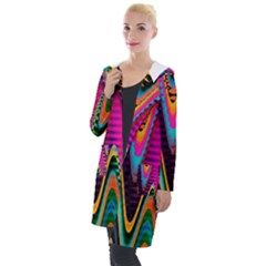 Multicolored Wave Distortion Zigzag Chevrons 2 Background Color Solid Black Hooded Pocket Cardigan by EDDArt