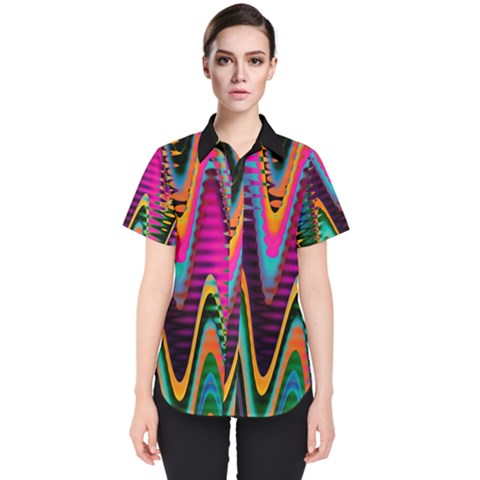 Multicolored Wave Distortion Zigzag Chevrons 2 Background Color Solid Black Women s Short Sleeve Shirt by EDDArt