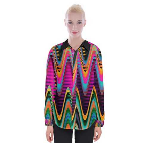 Multicolored Wave Distortion Zigzag Chevrons 2 Background Color Solid Black Womens Long Sleeve Shirt by EDDArt