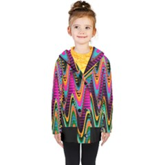Multicolored Wave Distortion Zigzag Chevrons 2 Background Color Solid Black Kids  Double Breasted Button Coat by EDDArt
