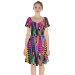 Multicolored Wave Distortion Zigzag Chevrons 2 Background Color Solid Black Short Sleeve Bardot Dress by EDDArt