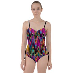 Multicolored Wave Distortion Zigzag Chevrons 2 Background Color Solid Black Sweetheart Tankini Set by EDDArt