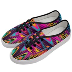 Multicolored Wave Distortion Zigzag Chevrons 2 Background Color Solid Black Women s Classic Low Top Sneakers by EDDArt