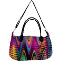 Multicolored Wave Distortion Zigzag Chevrons 2 Background Color Solid Black Removal Strap Handbag View1