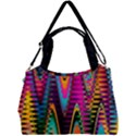Multicolored Wave Distortion Zigzag Chevrons 2 Background Color Solid Black Double Compartment Shoulder Bag View1