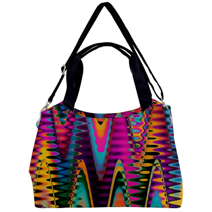 Multicolored Wave Distortion Zigzag Chevrons 2 Background Color Solid Black Double Compartment Shoulder Bag