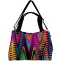 Multicolored Wave Distortion Zigzag Chevrons 2 Background Color Solid Black Double Compartment Shoulder Bag View2