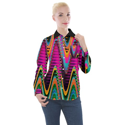 Multicolored Wave Distortion Zigzag Chevrons 2 Background Color Solid Black Women s Long Sleeve Pocket Shirt by EDDArt