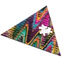 Multicolored Wave Distortion Zigzag Chevrons 2 Background Color Solid Black Wooden Puzzle Triangle View2