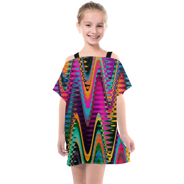 Multicolored Wave Distortion Zigzag Chevrons 2 Background Color Solid Black Kids  One Piece Chiffon Dress