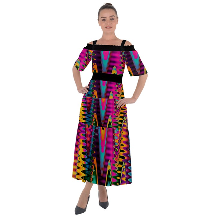 Multicolored Wave Distortion Zigzag Chevrons 2 Background Color Solid Black Shoulder Straps Boho Maxi Dress