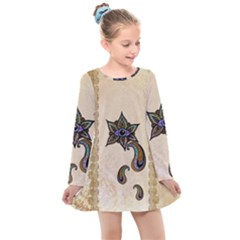 The Fantasy Eye, Mandala Design Kids  Long Sleeve Dress by FantasyWorld7