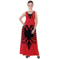 Albania Flag Empire Waist Velour Maxi Dress by FlagGallery