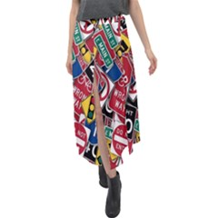 Road Signs Velour Split Maxi Skirt