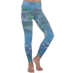 Waterlilies By Claude Monet Kids  Lightweight Velour Classic Yoga Leggings
