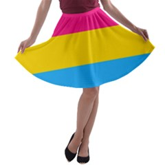 Pansexual Pride Flag A-line Skater Skirt by lgbtnation