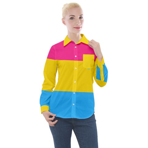 Pansexual Pride Flag Women s Long Sleeve Pocket Shirt by lgbtnation
