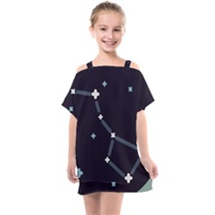 Celebrities Categories Universe Sky Kids  One Piece Chiffon Dress by Pakrebo