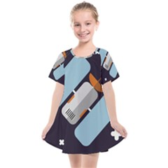 Satellite Machine Space Dark Kids  Smock Dress by Pakrebo