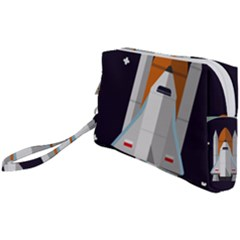 Rocket Space Universe Spaceship Wristlet Pouch Bag (small)