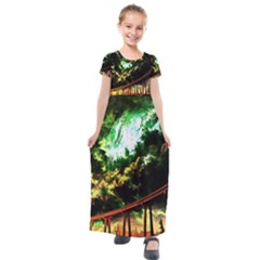 Science Fiction Forward Futuristic Kids  Short Sleeve Maxi Dress by Pakrebo