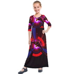 Science Fiction Cover Adventure Kids  Quarter Sleeve Maxi Dress by Pakrebo