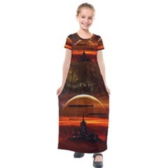 Science Fiction Digital Illustration Kids  Short Sleeve Maxi Dress by Pakrebo