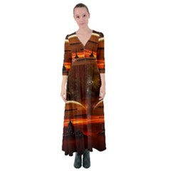 Science Fiction Digital Illustration Button Up Maxi Dress