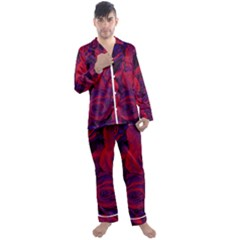 Roses Red Purple Flowers Pretty Men s Satin Pajamas Long Pants Set by Pakrebo