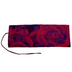 Roses Red Purple Flowers Pretty Roll Up Canvas Pencil Holder (s)