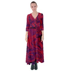 Roses Red Purple Flowers Pretty Button Up Maxi Dress