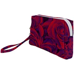 Roses Red Purple Flowers Pretty Wristlet Pouch Bag (small)