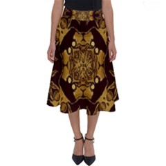 Gold Black Book Cover Ornate Perfect Length Midi Skirt