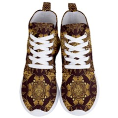Gold Black Book Cover Ornate Women s Lightweight High Top Sneakers by Pakrebo