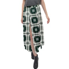 Pattern Design Texture Fashion Velour Split Maxi Skirt