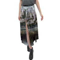 Sea Island Castle Landscape Velour Split Maxi Skirt