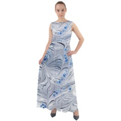 Marbled Paper Mottle Color Movement Chiffon Mesh Maxi Dress