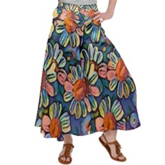 Daisies Flowers Colorful Garden Satin Palazzo Pants