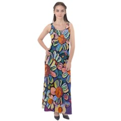 Daisies Flowers Colorful Garden Sleeveless Velour Maxi Dress