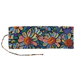 Daisies Flowers Colorful Garden Roll Up Canvas Pencil Holder (m) by Pakrebo