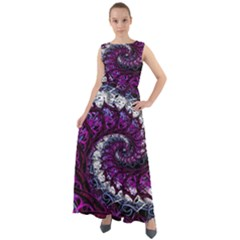 Fractal Background Swirl Art Skull Chiffon Mesh Maxi Dress