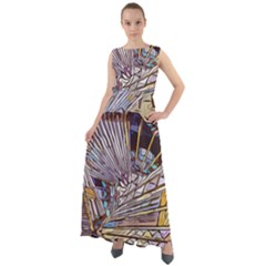 Abstract Drawing Design Modern Chiffon Mesh Maxi Dress
