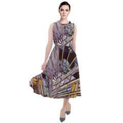 Abstract Drawing Design Modern Round Neck Boho Dress