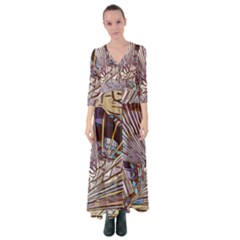 Abstract Drawing Design Modern Button Up Maxi Dress