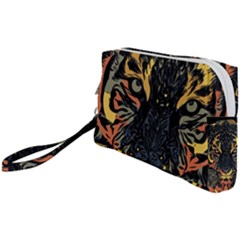 Tiger Predator Abstract Feline Wristlet Pouch Bag (small)