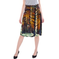 Forest Woods Trees Night Shadows Midi Beach Skirt by Pakrebo
