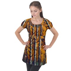 Forest Woods Trees Night Shadows Puff Sleeve Tunic Top