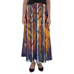 Forest Woods Trees Night Shadows Flared Maxi Skirt by Pakrebo